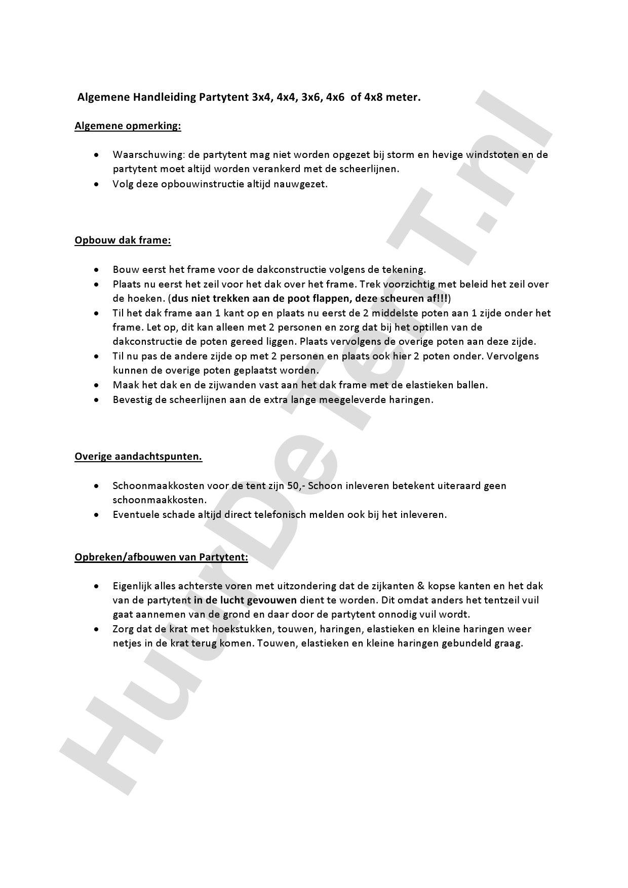 Zelfbouw instructies 3x6 Partytent - Huurdetent.nl