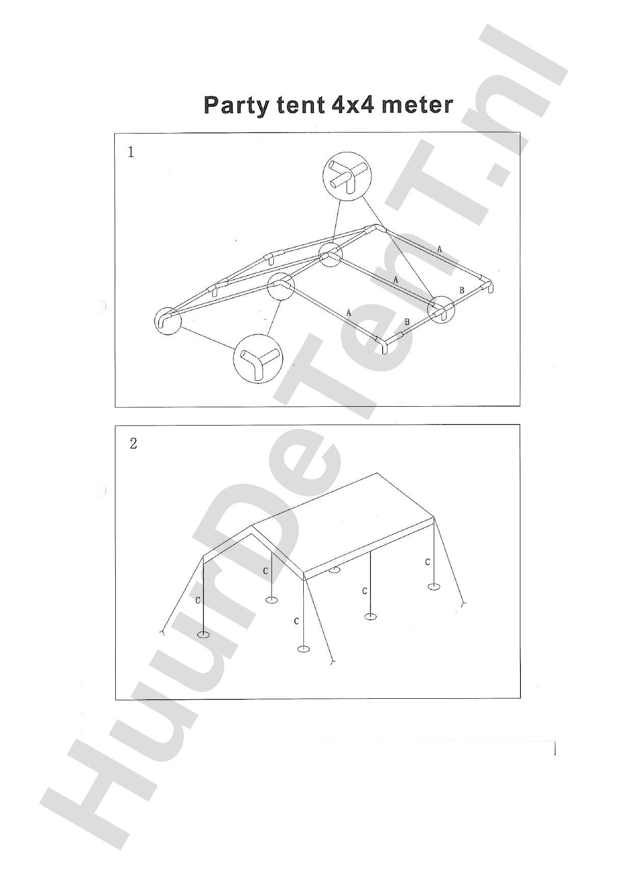 Zelfbouw instructies 4x4 Partytent - Huurdetent.nl