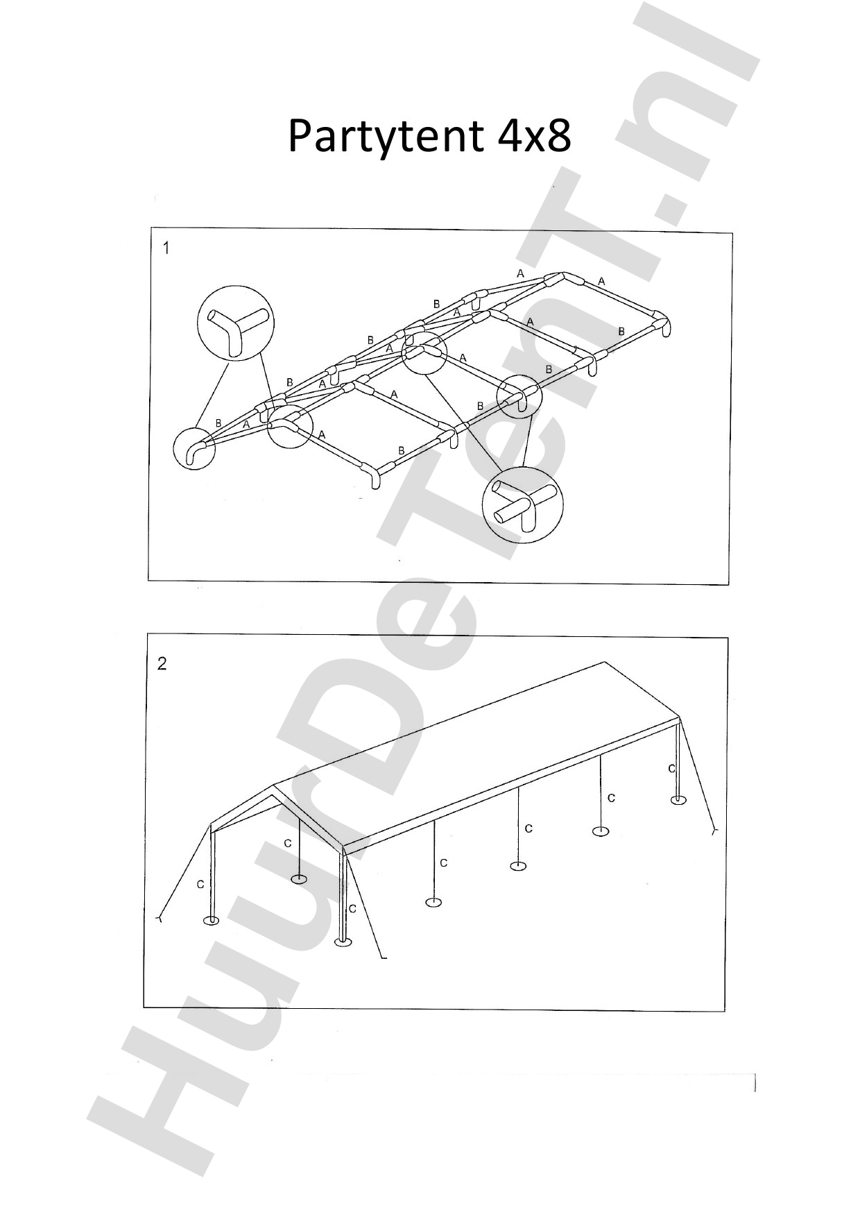 Zelfbouw instructies 4x8 Partytent - Huurdetent.nl